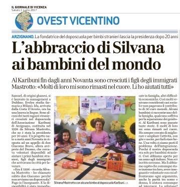 """Dal Giornale di Vicenza: """"L'abbraccio di Silvana ai bambini del mondo"""""""